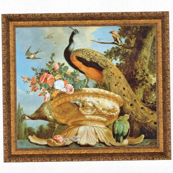 A Peacock On A Decorative Urn Canvas Replica Painting: Grande