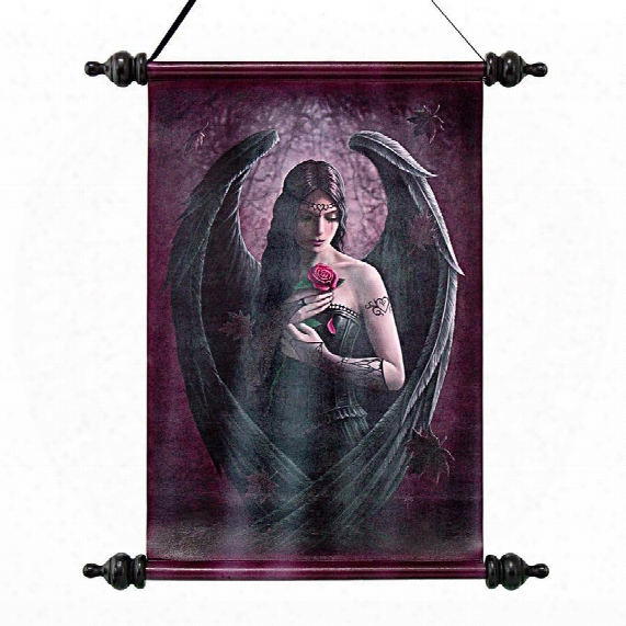 Angel Rose Canvas Wall Scroll By Artist Anne Stokes