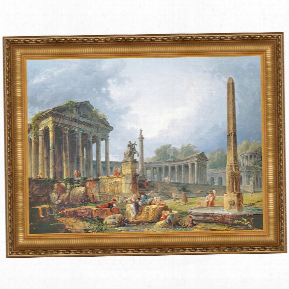 Architectural Capriccio With Obelisk Canvas Replica Painting: Grande