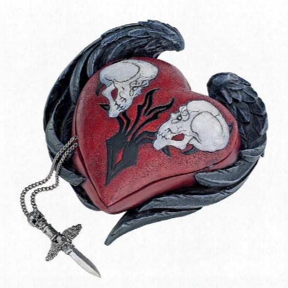 Beating Heart Gothic Winged Skull Biker Relic Box