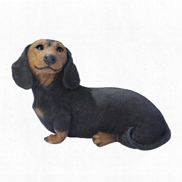 Black Dachshund Puppy Dog Staue