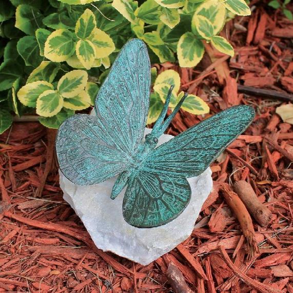 Butterfly Bronze Garden Statue: Verdigris Butterfly