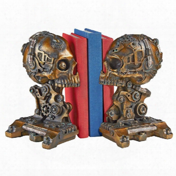 Cyborg Skeleton Bookend Statue
