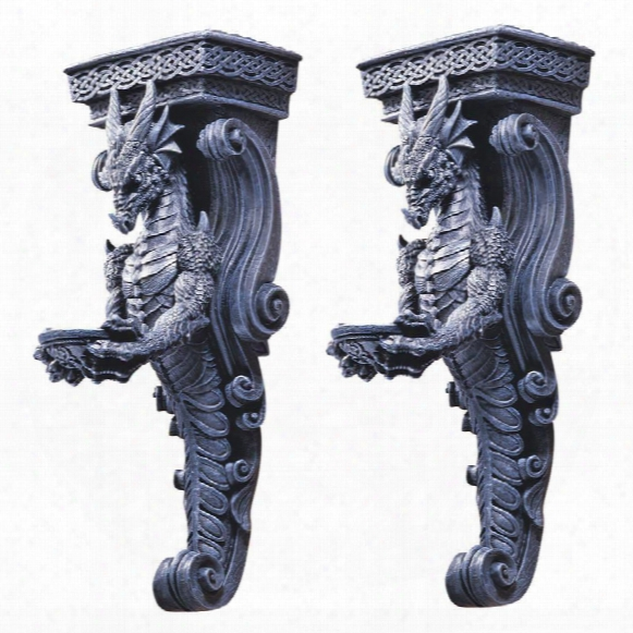 Dragons Of Darkmoor Castle Wall Caryatids: Set Of Two