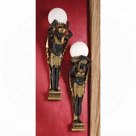 Egyptian Royalty Illuminated Wall Sculptures