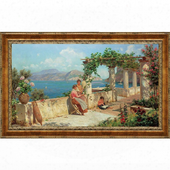 Figures On A Terrace In Ca Pri Canvas Replica Painting: Small