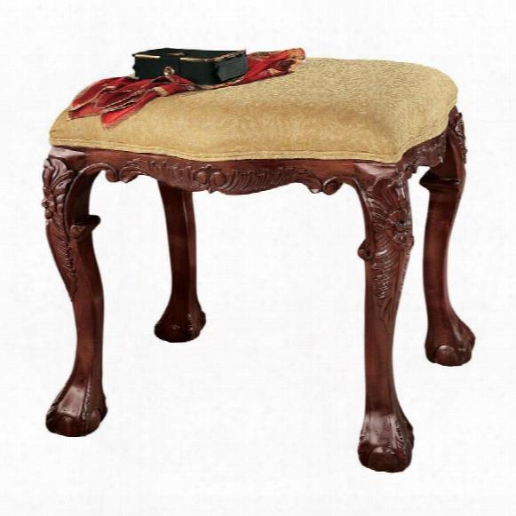 French Baroque Honey Upholstered Bench - Medium