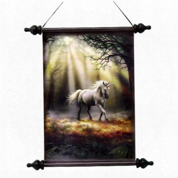 Glimpse Of A Mystic Unicorn Canvas Wall Scroll