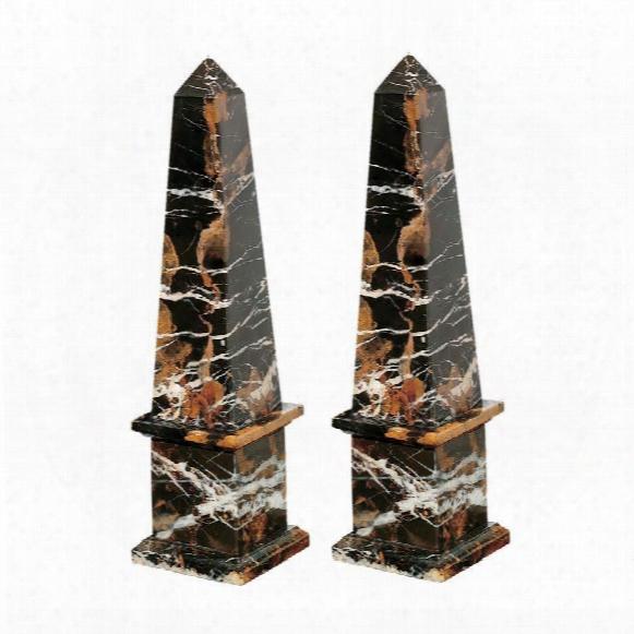 Grande Solid Marble Obelisk: Set Of Two