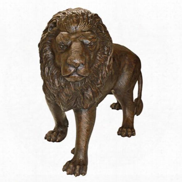 Guardian Lion Cast Bronze Garden Statue: Left Foot Forward