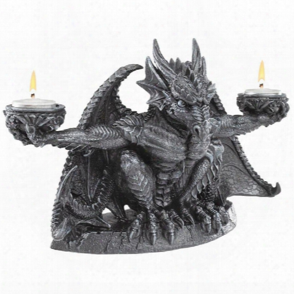 Judging The Darkness Dragon Candleholder: Set Of Two