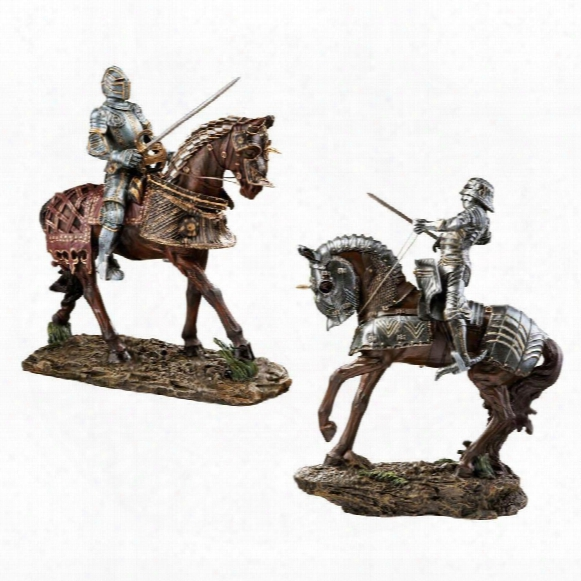 Knights Of Blenheim Palace Sculptures: Set Of Red & Silver Knights