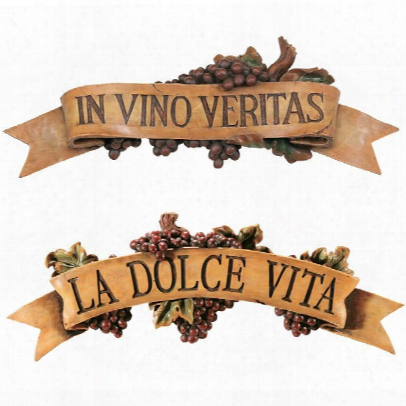 La Dolce Vita And In Vino Veritas Sculptural Wall Plaques