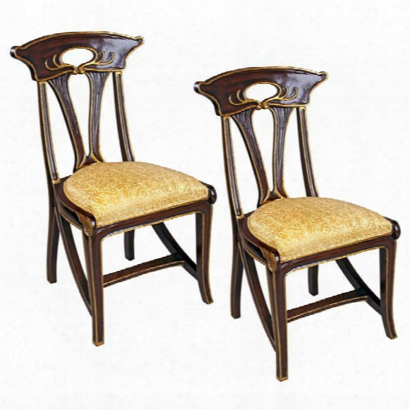 Majorelle Golden Art Nouveau Side Chair: Set Of Two