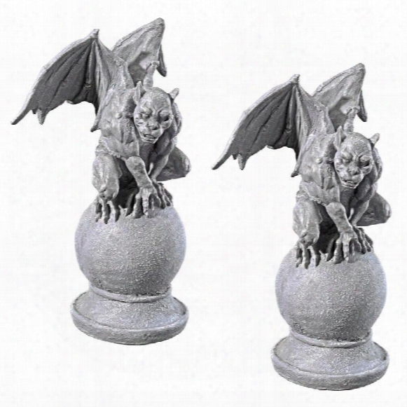 "Malicay, The Malicious"" Gargoyle Statue: Set Of Two"