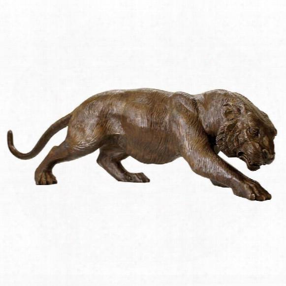 Prowling Tiger Cast Bronze Garden Statue