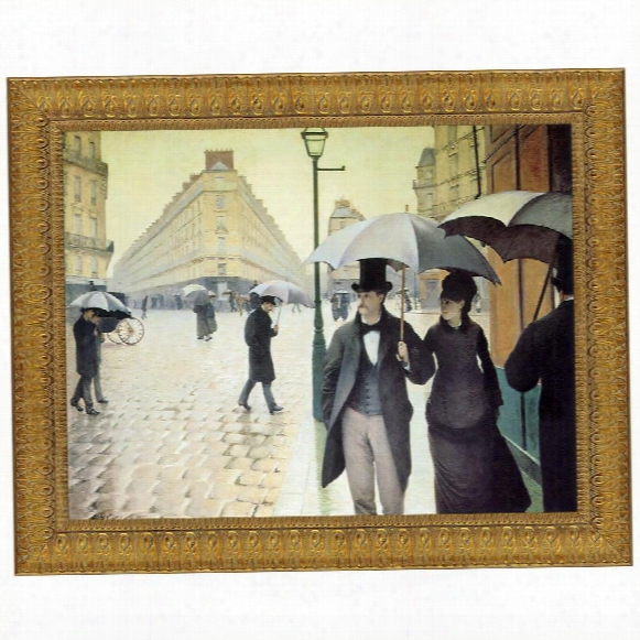 Rue Du Paris,  Rainy Day, 1877, Canvas Replica Painting: Small