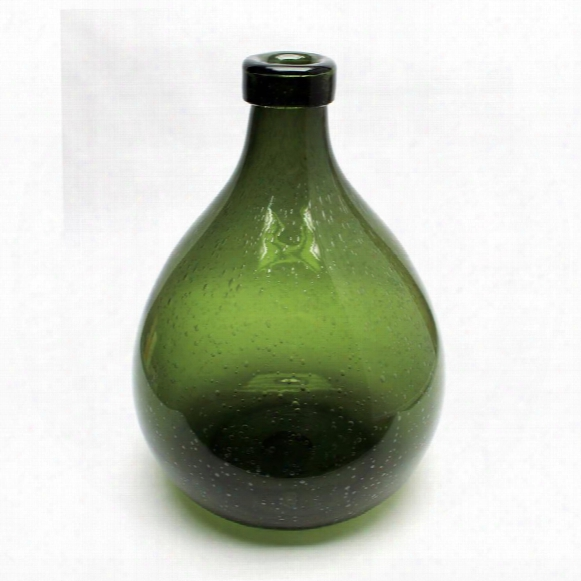 "Shima 15"" Olive Green Hand-blown Glass Vase"