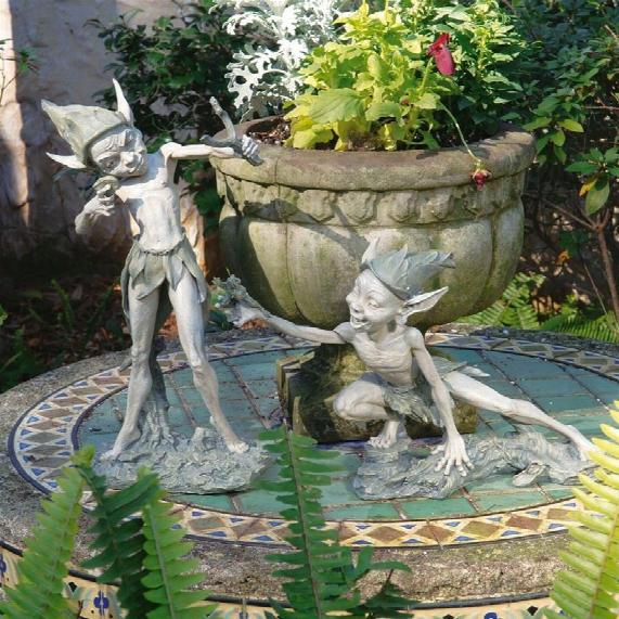 Sling & Stretch Garden Pixie Sculptures: Set Of 2