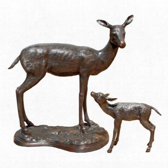 Standing Mother Doe And Baby Fawn Deer Cast Bronze Garden Statue Set