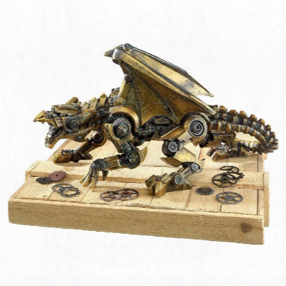 "Steampunk Gohtic Gear Dragon"" Statue"