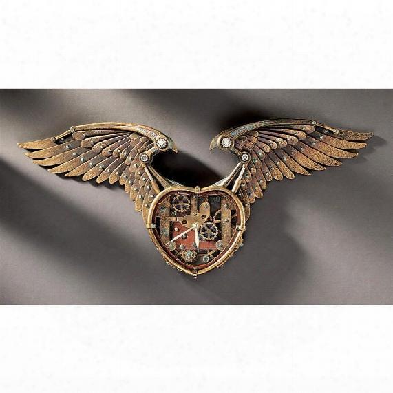 Steampunk Winged Heart Sculptural Wall Clock
