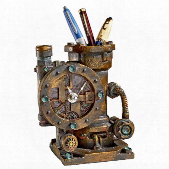 Steampunk Writing Instrument And Time Indicator Sculpture