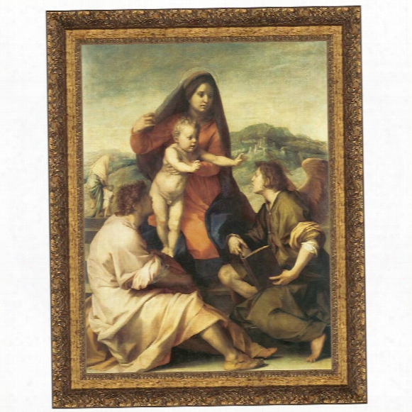 The Virgin And Child With A Saint And An Angel, 1509-14 Canvas Replica Painting: Grande
