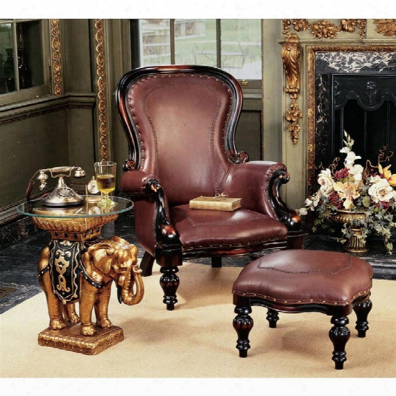 Vitorian Rococo Faux Leather Wing Chair And Ottoman