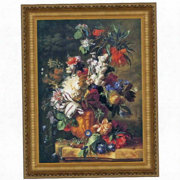 Bouquet Of Flowers In An Urn, 1724, Canvas Replica Painting: Small