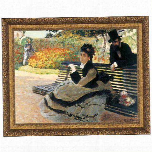 Camille Monet On A Garden Bench, 1873: Canvas Autograph Copy Painting: Grande