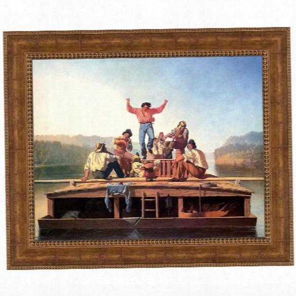 Jolly Flatboatmen In Port, 1857 Canvas Replica Painting: Grande