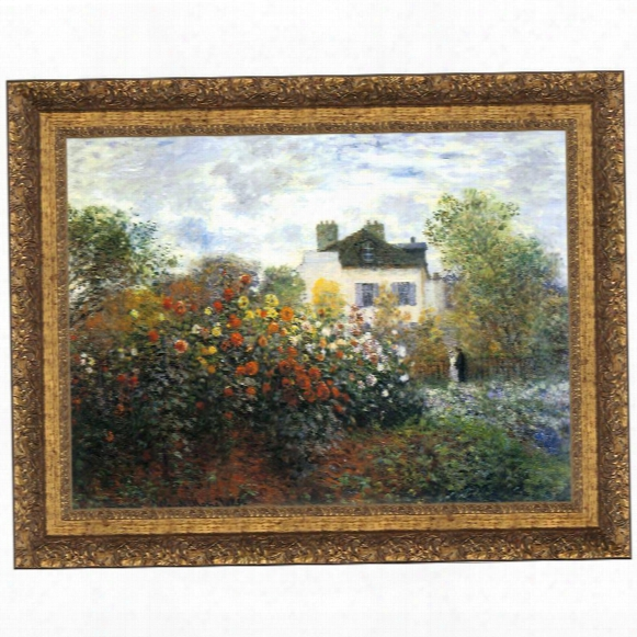 Monet's Garden At Argenteuil (the Dahlias), 1873: Canvas Replica Painting: Grande