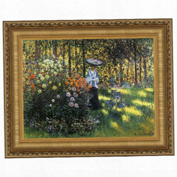 Woman With A Parasol In The Garden I N Argenteuil, 1875: Canvas Replica Painting: Grande