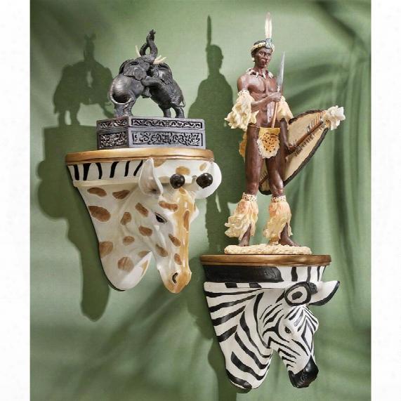 African Giraffe And Zebra Wall Shelf Sculptures: Set Of Two