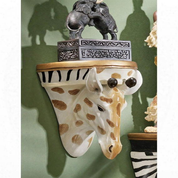 African Giraffe Wall Shelf Sculpture