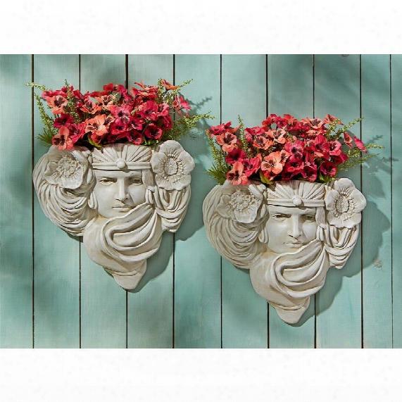 Art Nouveau Mystic Maiden Wall Pocket Planter Sculpture: Set Of Two
