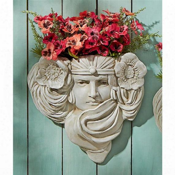 Art Nouveau Mystic Maiden Wall Pocket Planter Sculpture