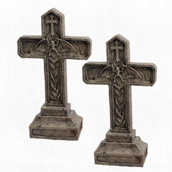 Balkan Vampire Blood Cross Statue: Set Of Two