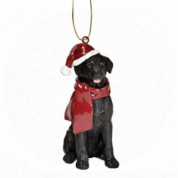 Black Labrador Retriever Holiday Dog Ornament Sculpture