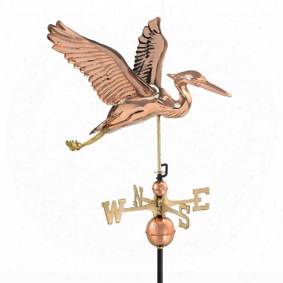 Blue Heron Ful-size Weathervane - Polished Copper Finish