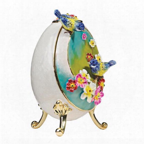 Bluebirds Faberge-style Enameled Egg