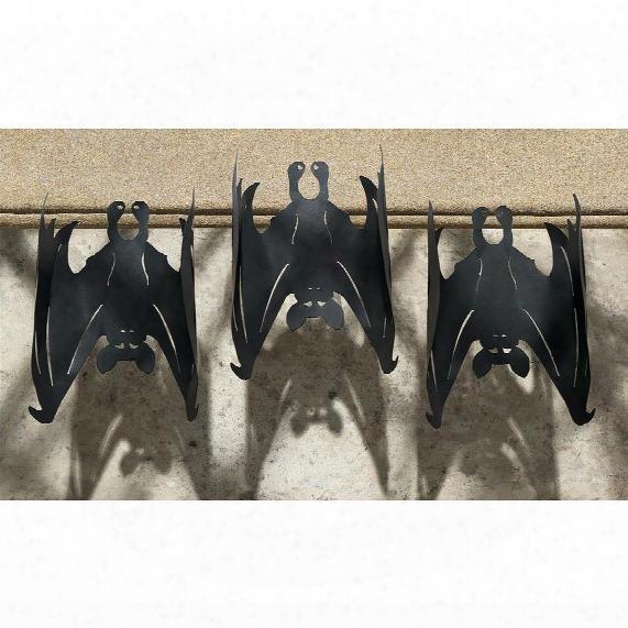 Dark Side Vampire Bats Metal Wall Sculptures: Set Of 3