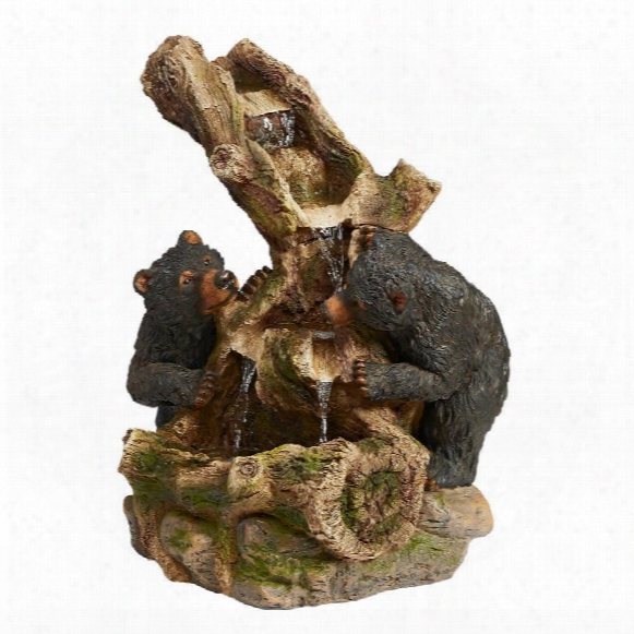 Dilly-dallying Black Bears Cascading Sculptural Fountain