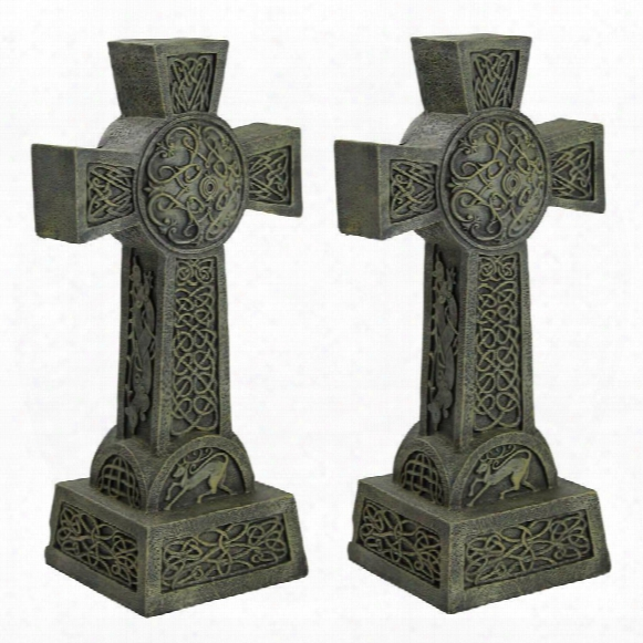 Donegal Celtic High Cross Statue: Set Of Two