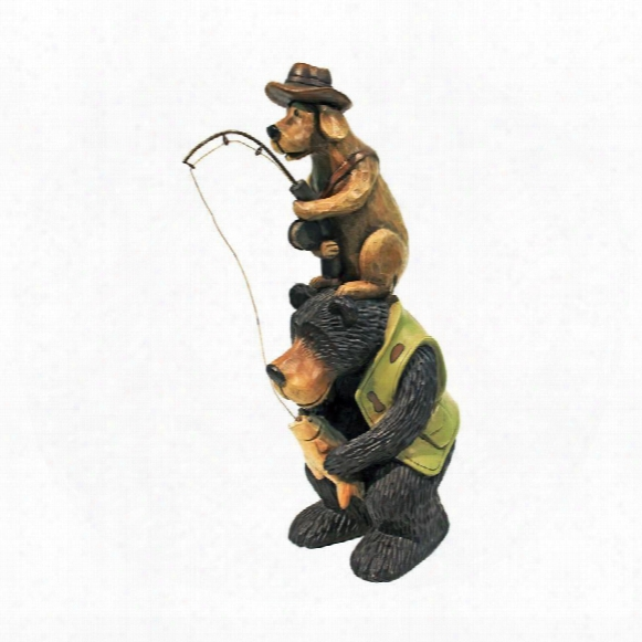 Fishing Buddies Black Bear And Dog Statue