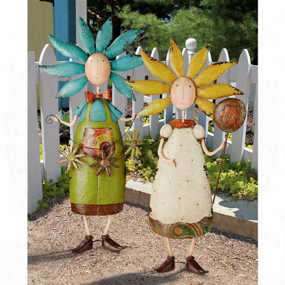 Flower Children Metal Garden Statues