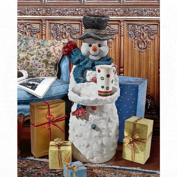 Flurry The Snowman Butler Holiday Pedestal Table