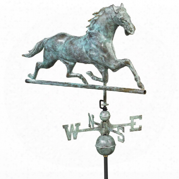 Galloping Horse Full-size Copper Weathervane: Blue Verde Finish