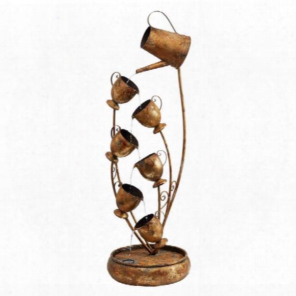 Garden Tea Party Cascading Metal Sculptural Fountain